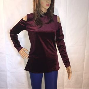 Stem & Vine Velvet Cold Shoulder Top MEDIUM